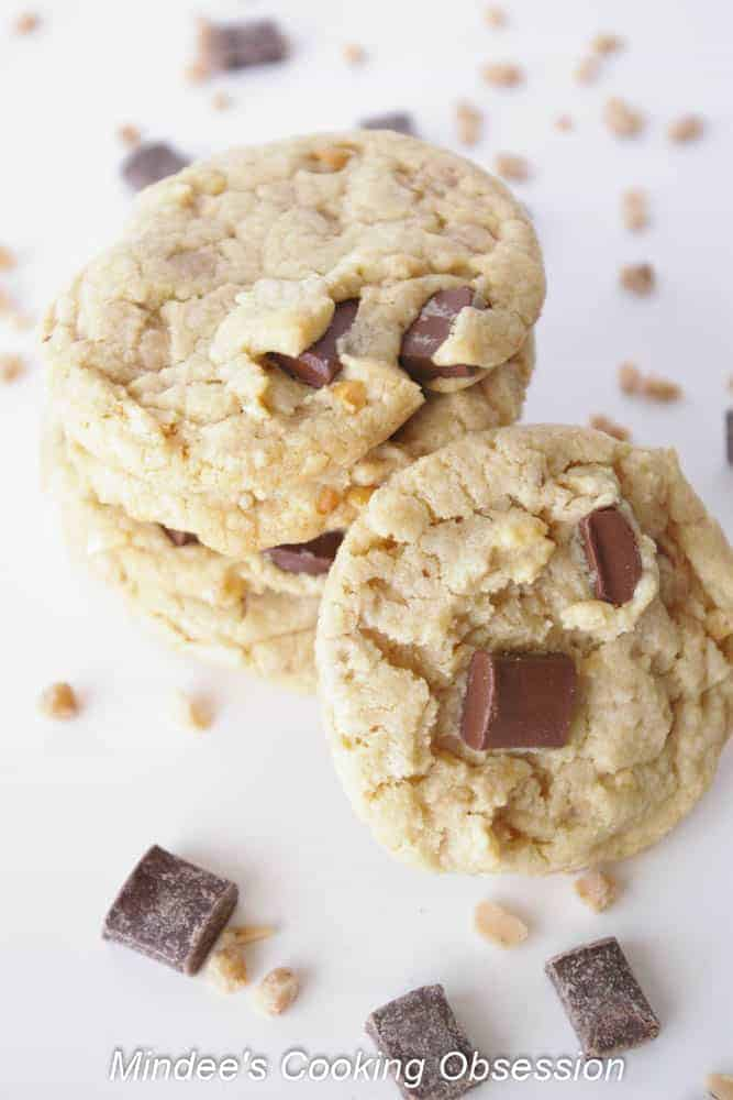 Grown Up Chocolate Chunk Cookies Have you ever wanted more from a chocolate chip cookie? Try these grown up chocolate chunk cookies! Chocolate chunks, toffee bits and nuts..need I say more?