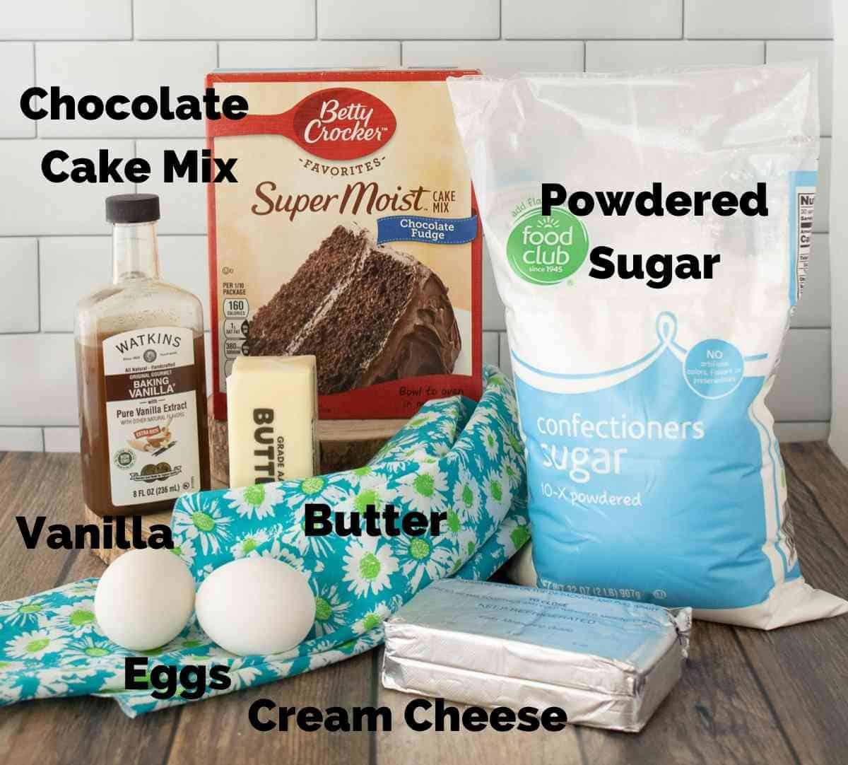 Ingredients for homemade oreo cookies.