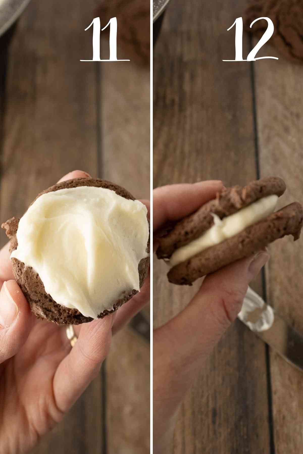 Cookies frosted and sandwiched together.