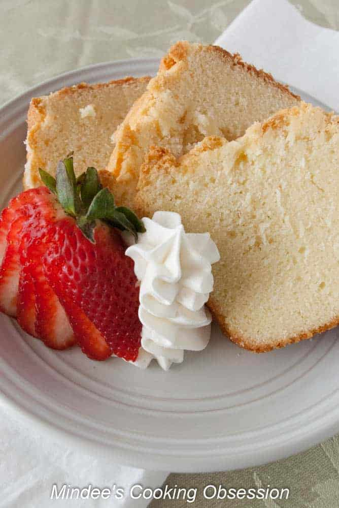Scrumptious Cream Cheese Pound Cake This scrumptious cream cheese pound cake is the perfect spring dessert! This moist, sweet pound cake goes with any fruit or is tasty alone as well.