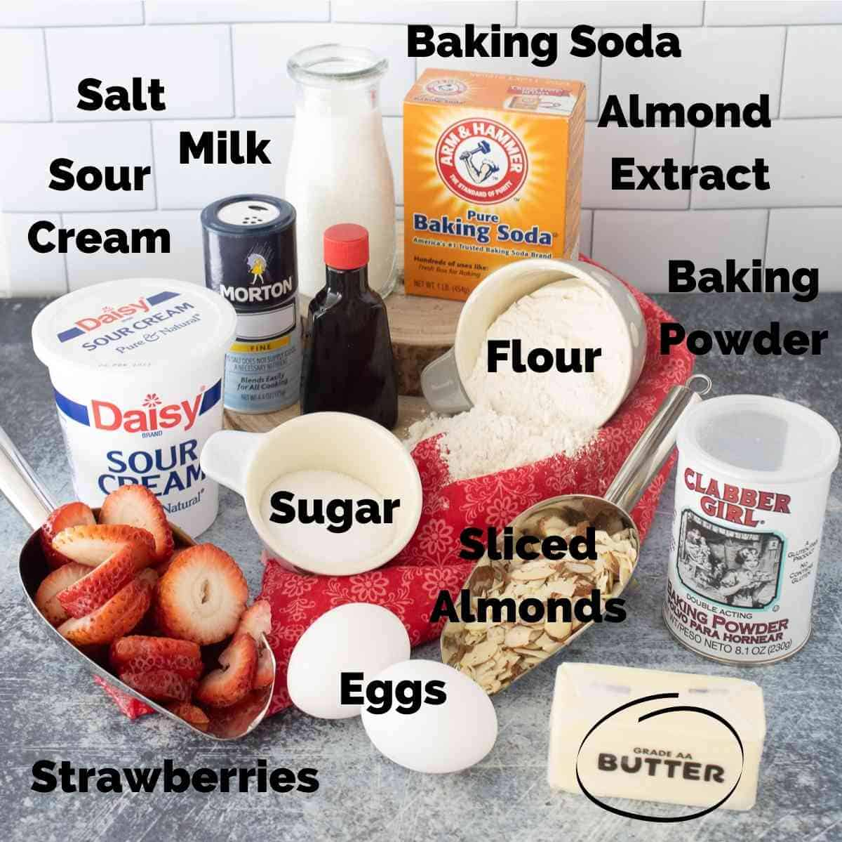 Ingredients for strawberry almond muffins.