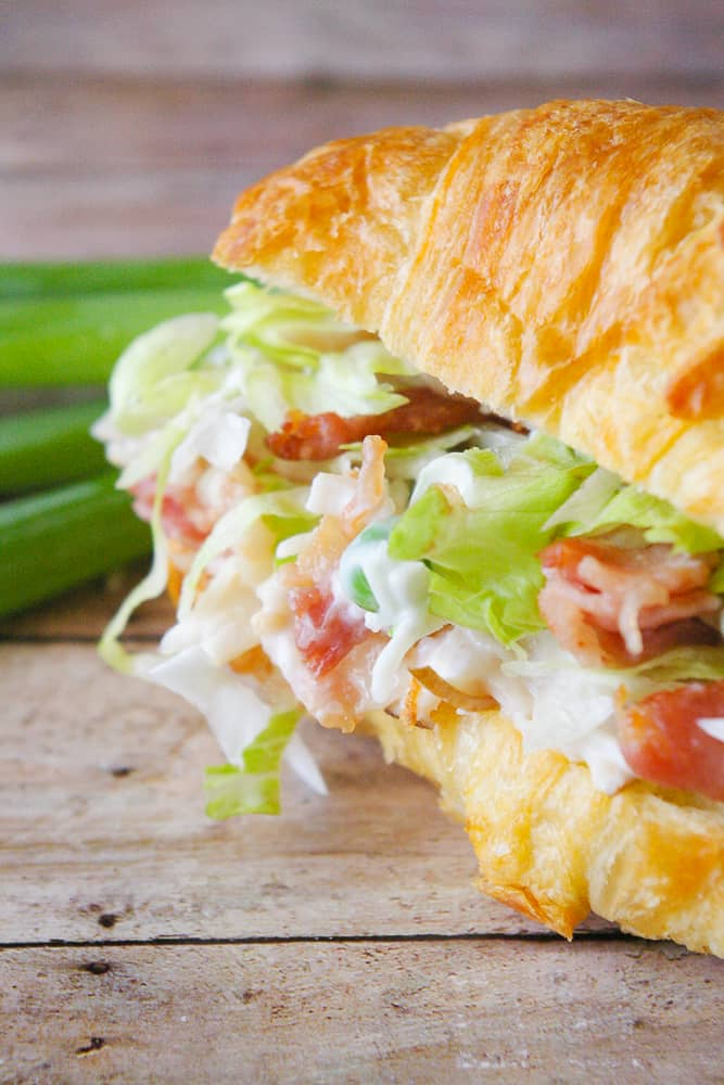 A turkey salad croissant sandwich ready to eat.