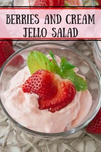 Berries and Cream Jello Salad pinnable image.