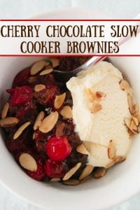 Cherry Chocolate Slow Cooker Brownies pinnable image.