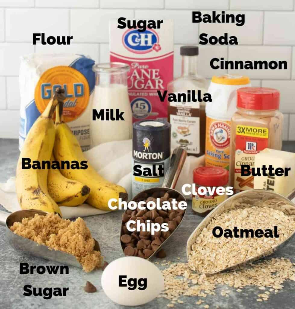 Ingredients for banana oatmeal chocolate chip cookies.