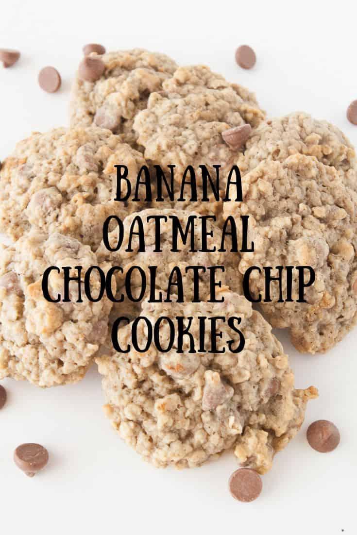 Pinnable image 3 for banana oatmeal chocolate chip cookies