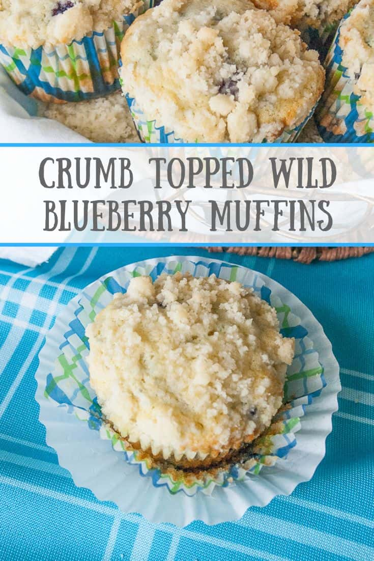 Pinnable image for crumb topped wild blueberry muffins.