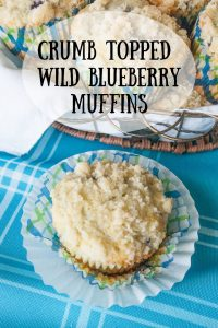 Pinnable image 3 for crumb topped wild blueberry muffins.