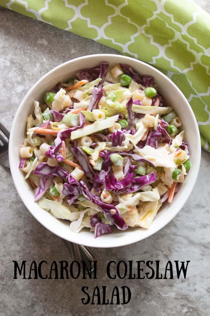 Macaroni Coleslaw salad pinnable image 2.