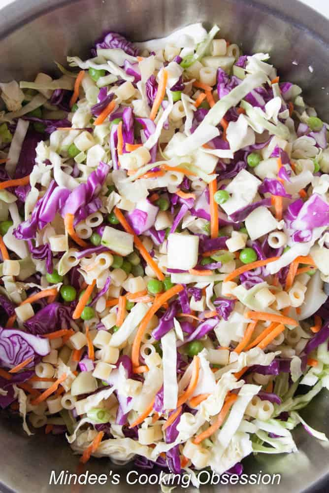 Macaroni added to the coleslaw ingredients.