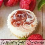 Raspberry Swirl Cheesecake Bites pinnable image