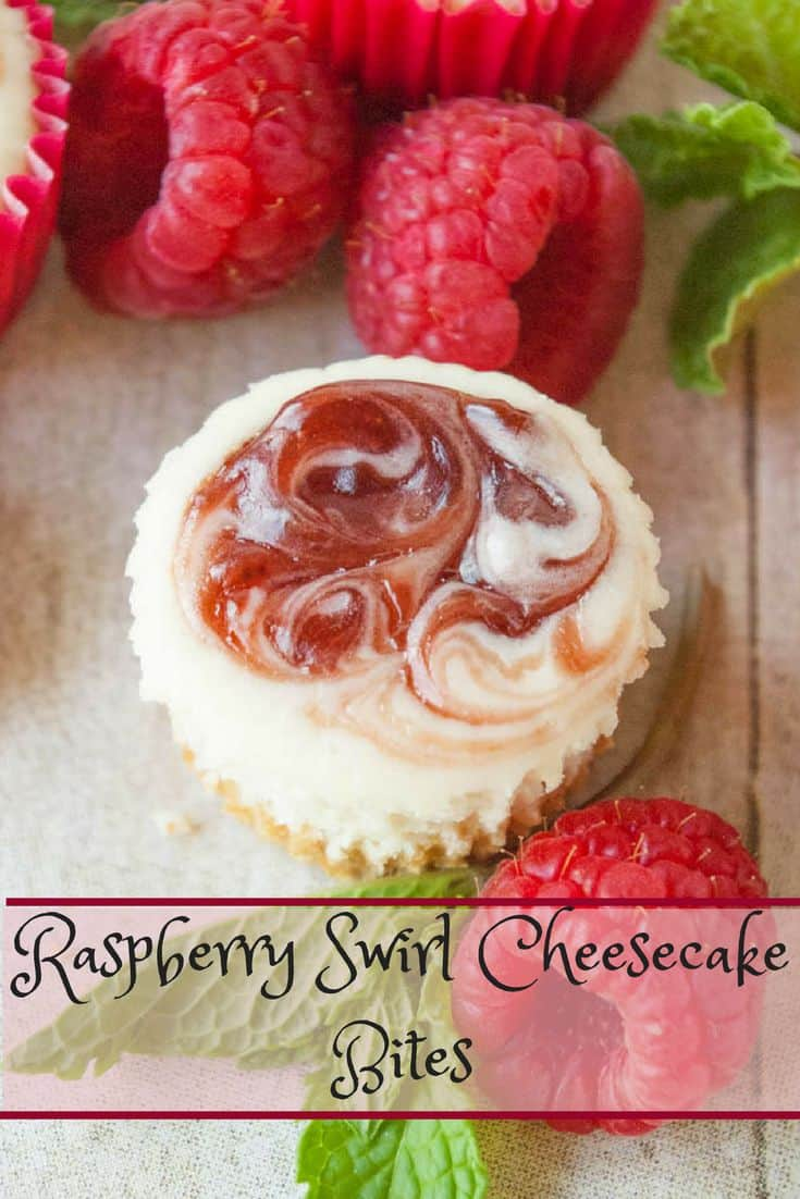 Raspberry Swirl Cheesecake Bites- beautiful bite sized cheesecakes!  Perfect for any occasion!