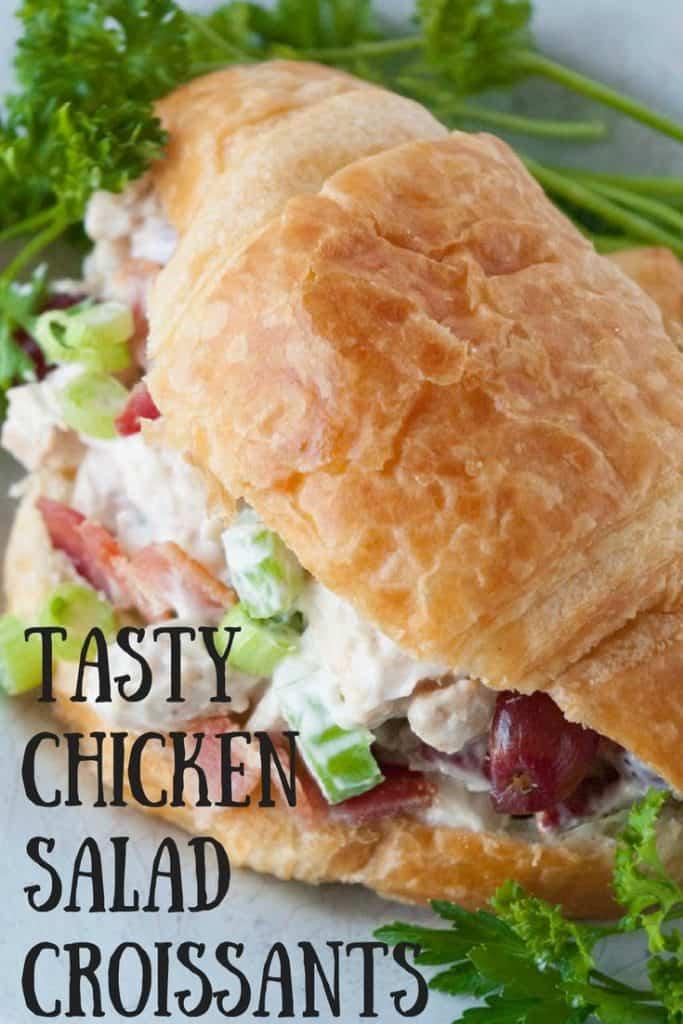 Tasty Chicken Salad Croissants pinnable image.