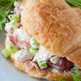 Tasty Chicken Salad Croissants- no bake, quick and easy dinner! Prepare ahead of time and have dinner ready in a snap!