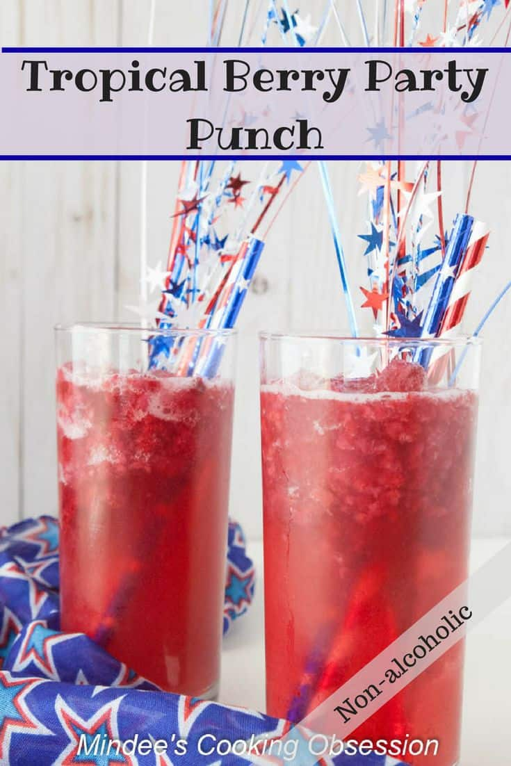 Tropical Berry Party Slush- a non-alcoholic slush punch that is as beautiful as it is delicious!