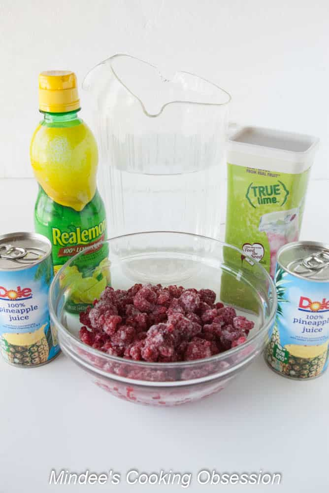 Tropical Berry Party Punch ingredients.