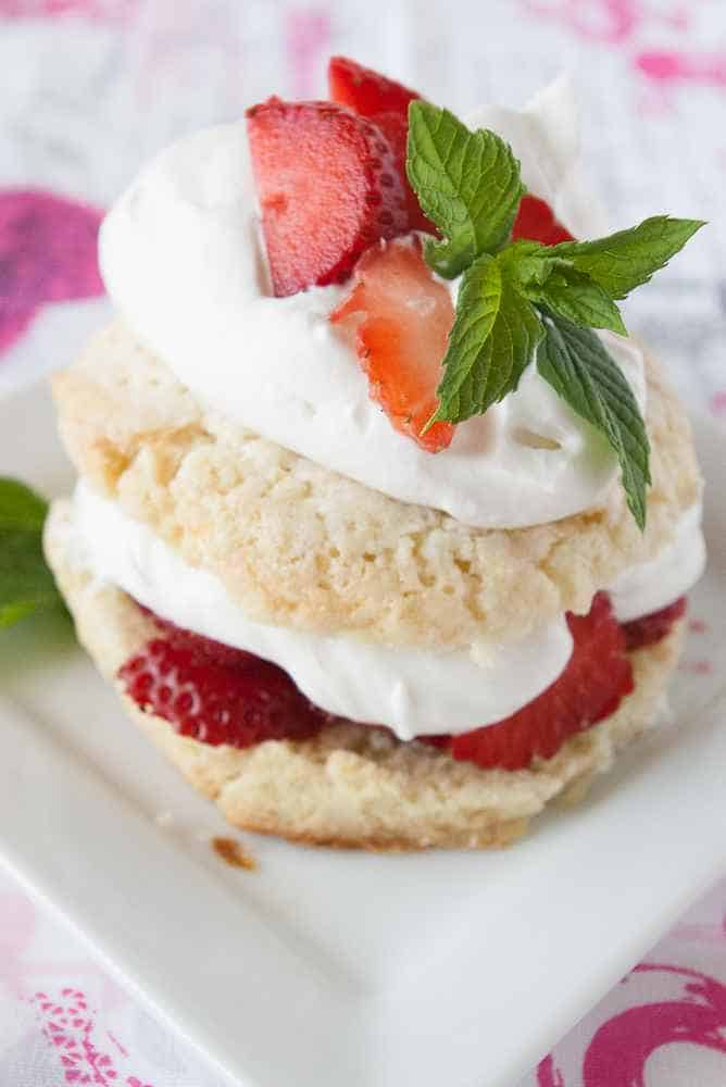 A breakfast strawberry shortcake garnished with mint.