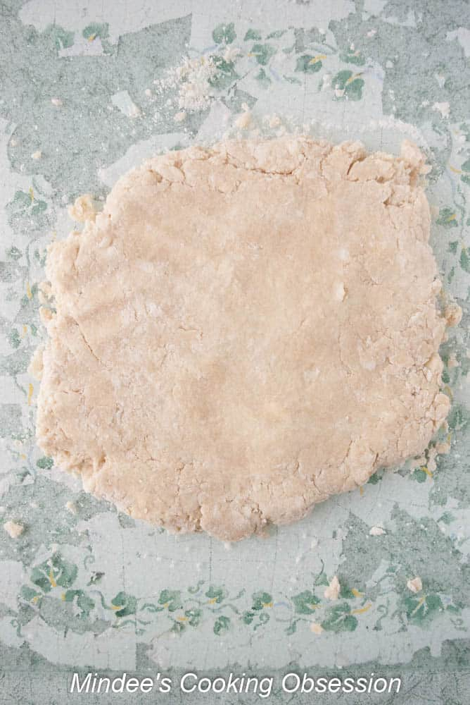 Sweet Biscuit dough flattened out ready to cut out.