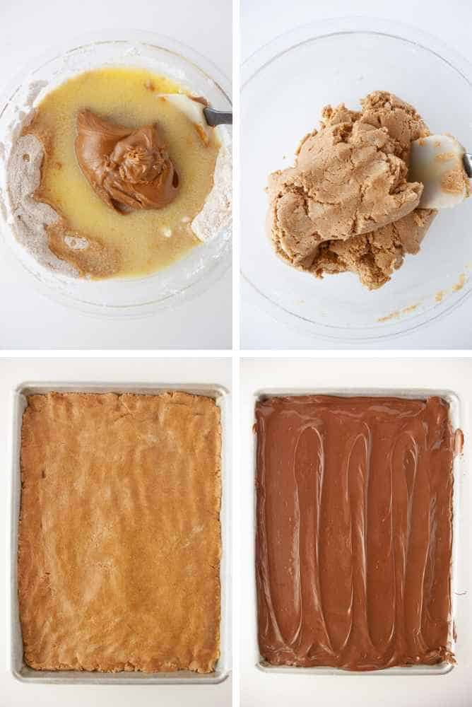 Collage of steps for cookie butter bars.