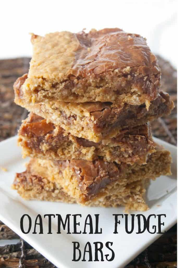 Oatmeal Fudge Bars pinnable image.