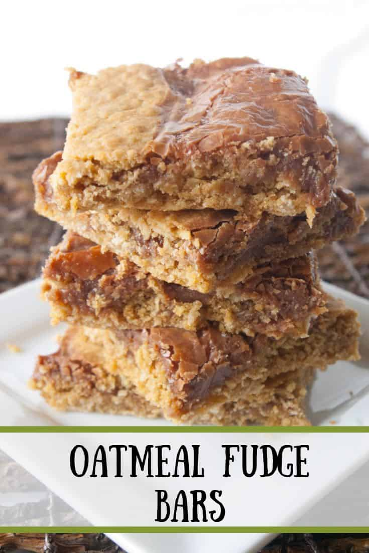 Pinnable image 3 for oatmeal fudge bars.