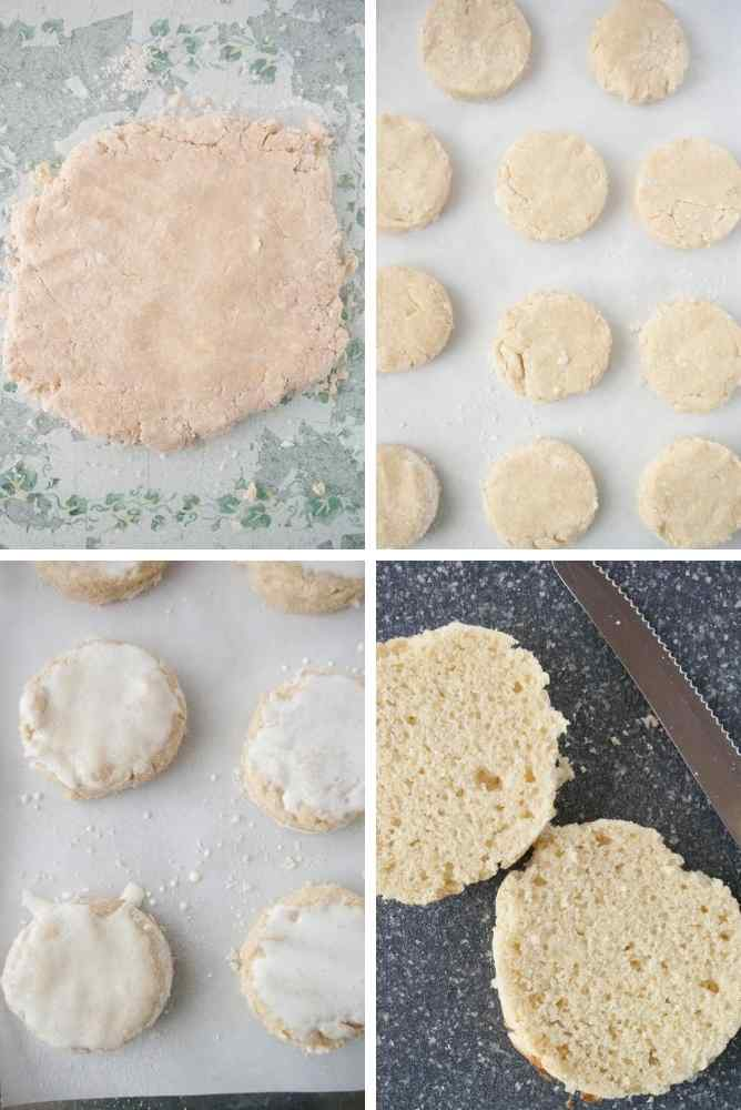Collage of steps for making the shortcake biscuits.