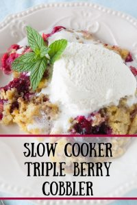 Pinnable image 1 for triple berry cobbler.