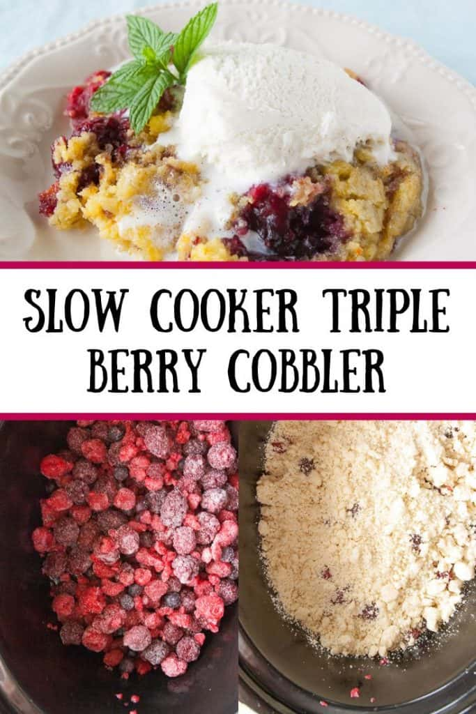 Pinnable image 4 for triple berry cobbler.
