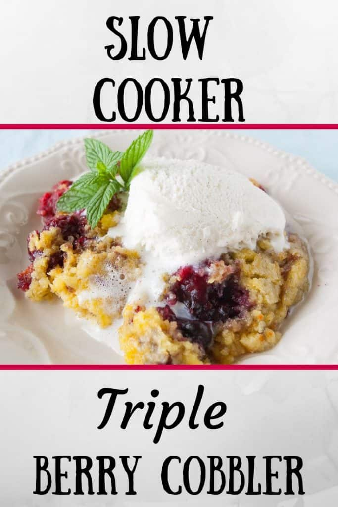 Pinnable image 5 for triple berry cobbler.