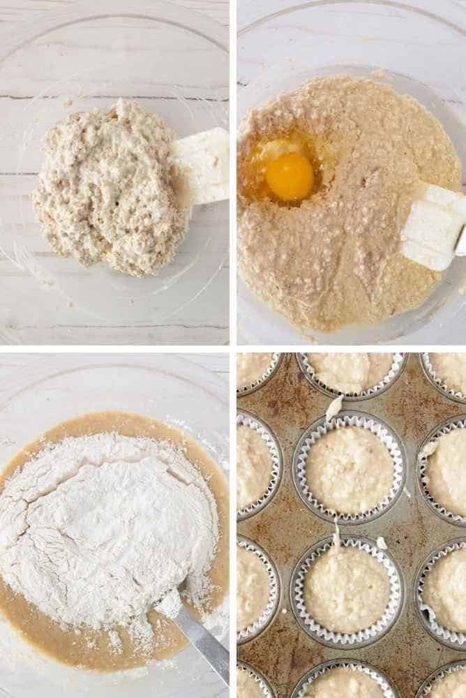 Steps for making these oatmeal muffins