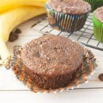 Facebook image for chocolate banana muffins.