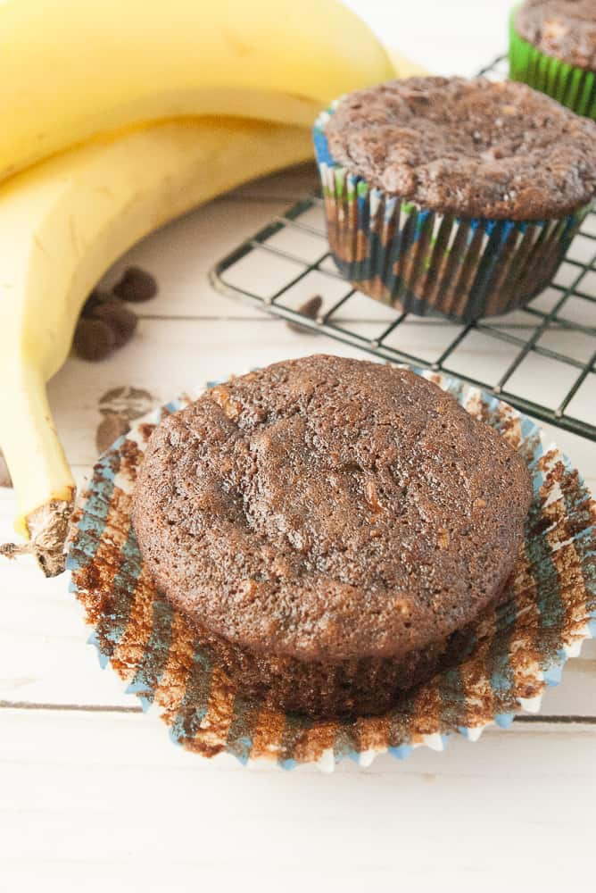 A yummy chocolate banana muffins ready to eat.