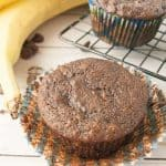 Pinnable image 2 for double chocolate banana muffins.