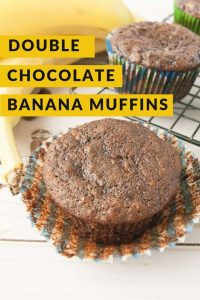 Pinnable image 5 for double chocolate banana muffins.