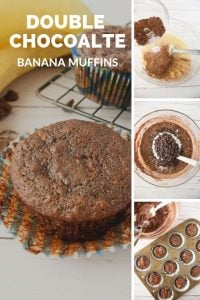 Pinnable image 6 for double chocolate banana muffins.