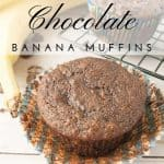 Pinnable image 1 for double chocolate banana muffins.