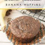 Pinnable image 3 for double chocolate banana muffins.
