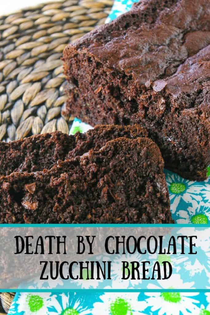 Pinnable image 1 for chocolate zucchini bread.