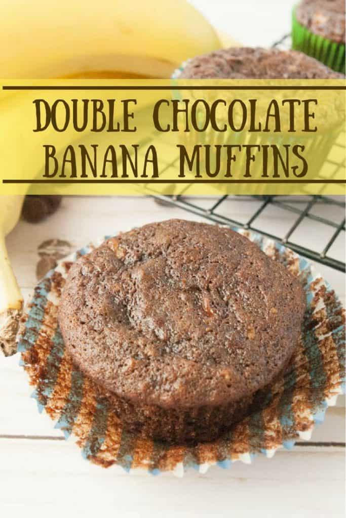 Double Chocolate Banana Muffins pinnable image.