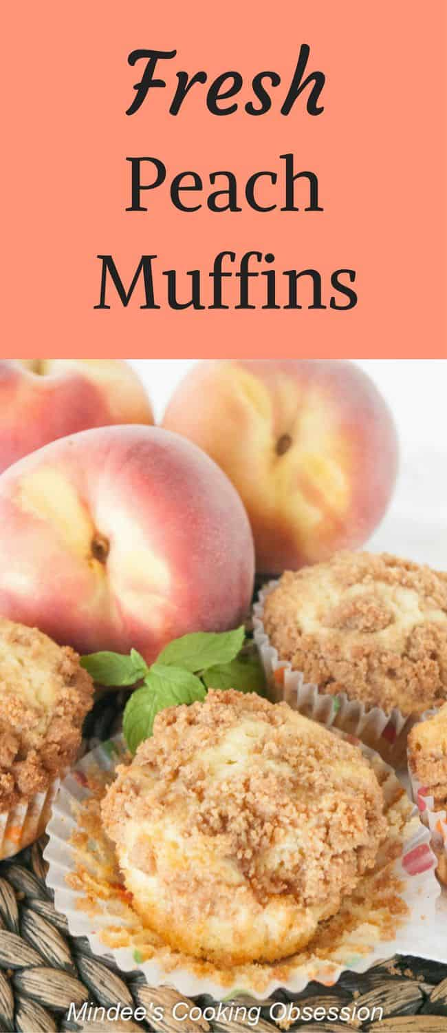 Fresh Peach Muffins- Start your day with these scrumptious fresh peach muffins.  You'll love their tender peach filled insides and crumb topped outside!  Truly irresistible!