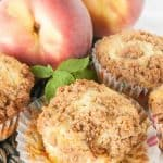 Pinnable image 2 for peach muffins.
