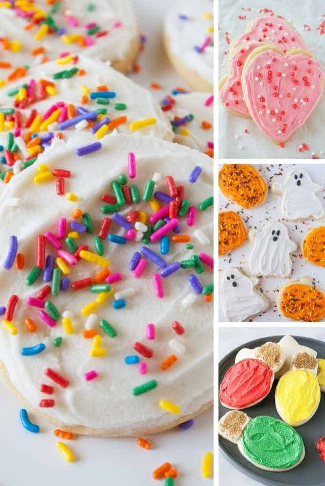 Hero image collage almond sugar cookies.