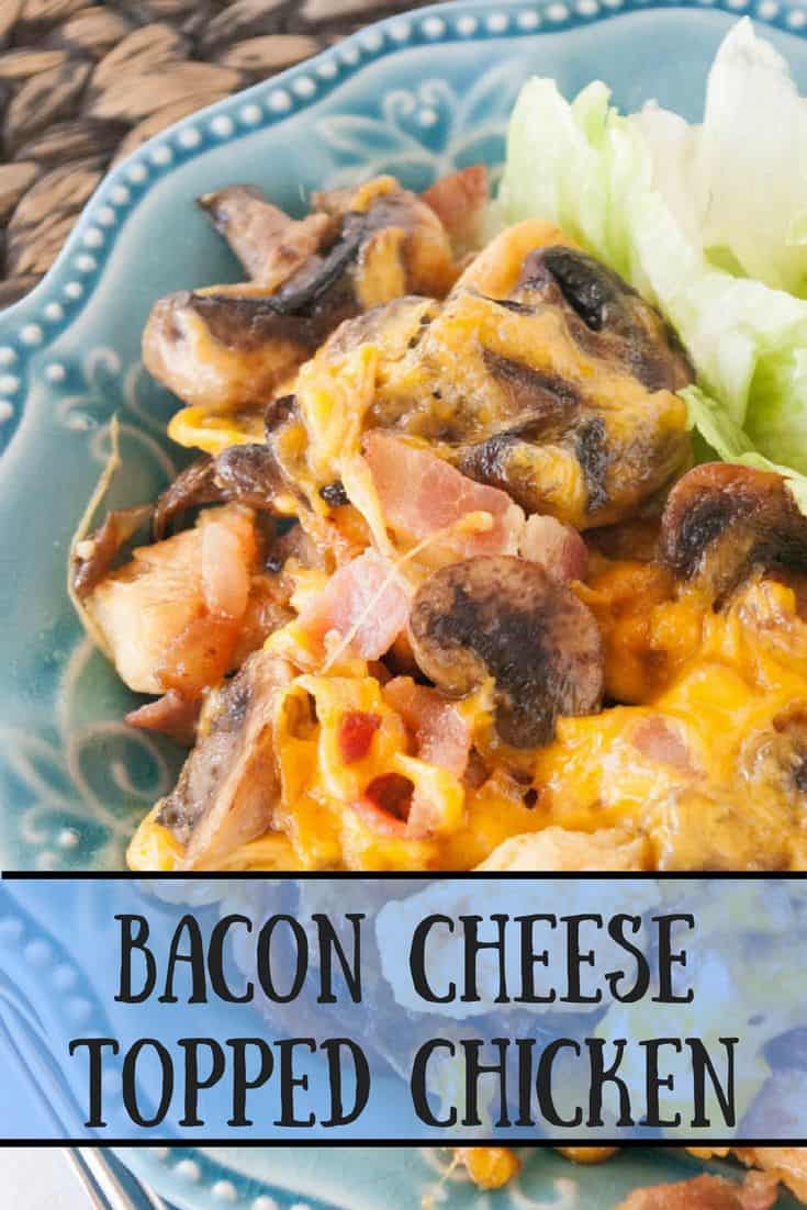Bacon Cheese Topped Chicken- Need something new for dinner?  Try these bacon cheese topped chicken bites!  Mouthwatering honey mustard chicken with bacon and cheese on every bite!