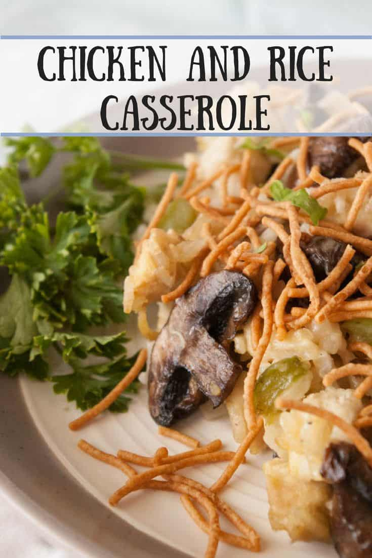 Chicken and Rice Casserole- Chicken and rice casserole is an easy, can be made ahead dinner.  Topped with crunchy rice noodles this is delicious for kids and adults alike!