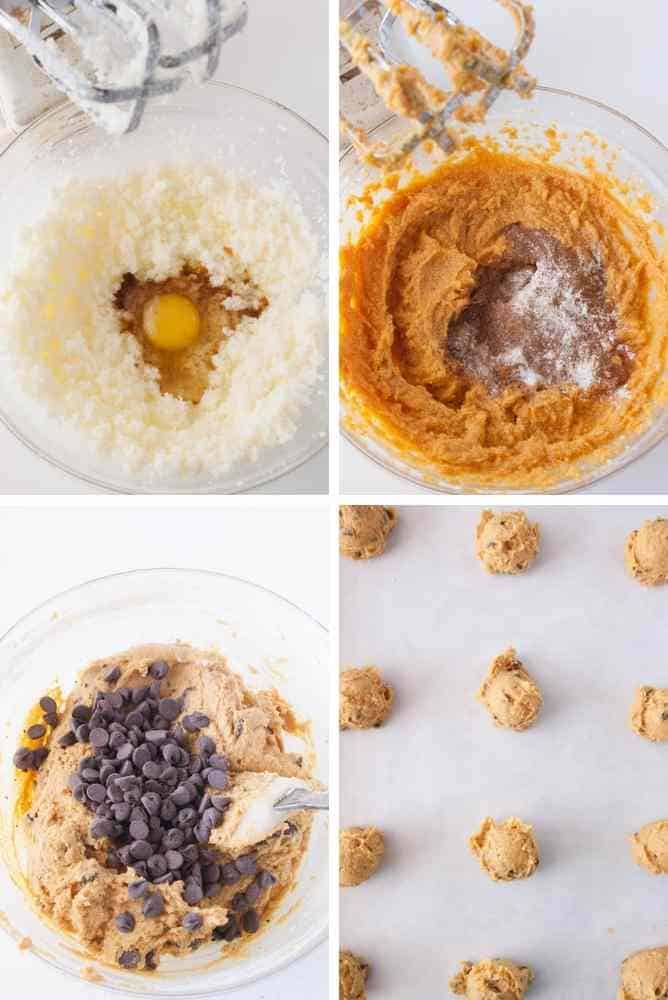 Collage of steps for these pumpkin cookies.