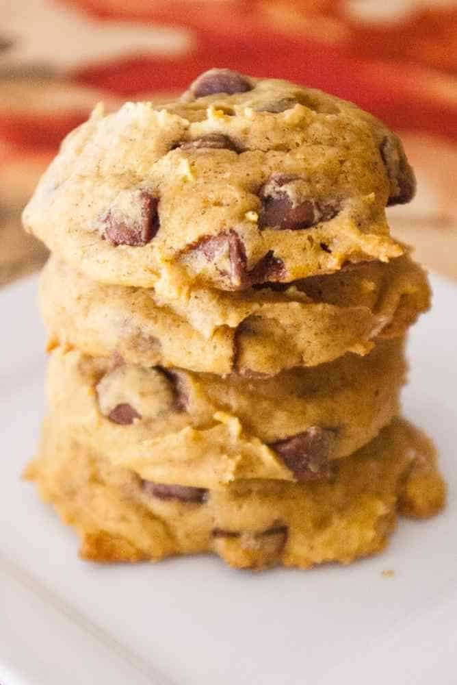 A stack of pumpkin cookies.