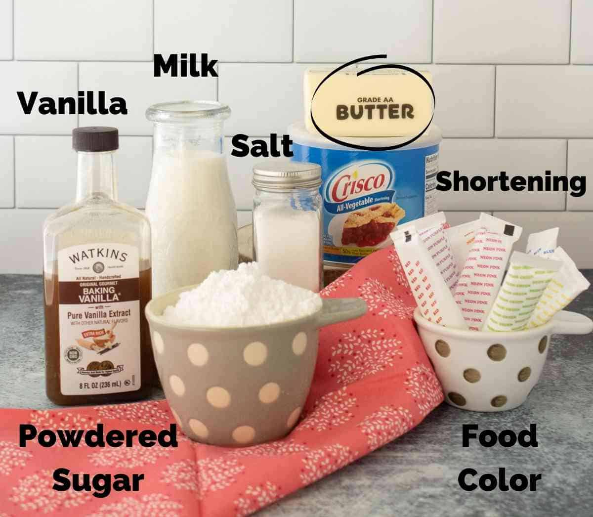 Ingredients for buttercream frosting.