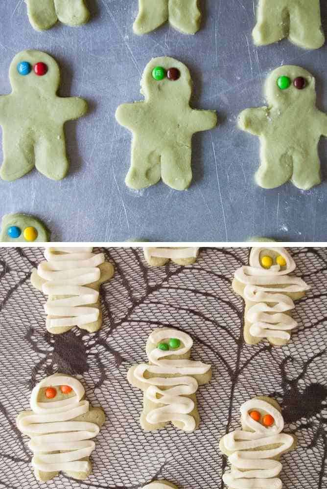 Mummy cookies before baking and after decorating.