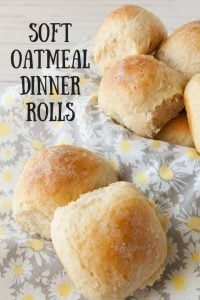 Soft Oatmeal Dinner Rolls pinnable image.