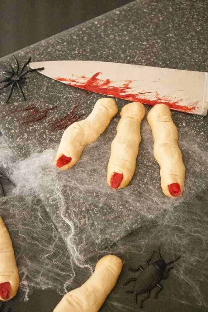 Three witch finger cookies.
